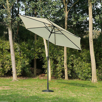 Outsunny 9ft Aluminum Patio Umbrella Garden Parasol Sunshade w/ Crank Tilt9