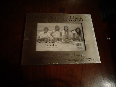 My Grandchildren Silver Metal Picture Frame BRAND NEW Engraved Grandparents Baby