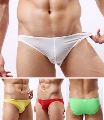 Mens Pure Color Sexy Soft Ice Silk Low-rise Boxer Briefs Seamless Underwear Thin