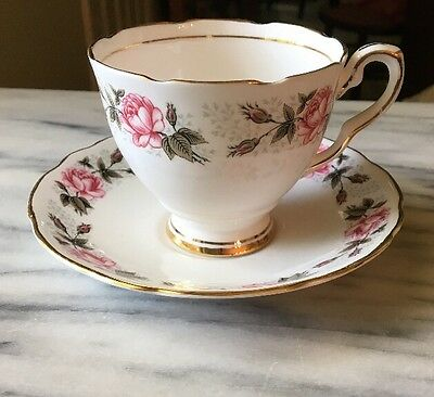 Royal Staffordshire England Cup & Saucer Cecille Roses Green Leaves Gold Leaf