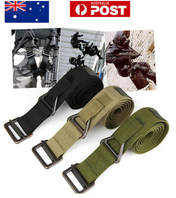 Outdoor Tactical Mens Waist Belt Nylon Canvas Strap Waistband With Metal Buckle