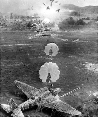 WWII photo Bombardment by parachute bombs of the Japanese airfield World War/486