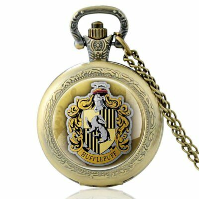 Antique Harry Potter House Hufflepuff Pocket Watch Vintage Quartz Necklace Chain