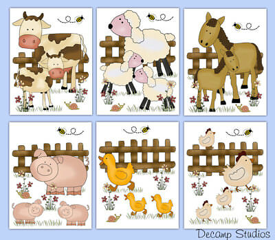 Farm Baby Nursery Prints Wall Art Barnyard Animals KIds Room Decor Horse Sheep