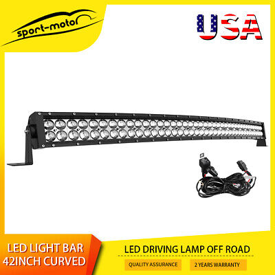 """42inch Led Work Light Bar Spot Flood Combo Curved Driving Lamp 40"""" 44"""" + Harness"""