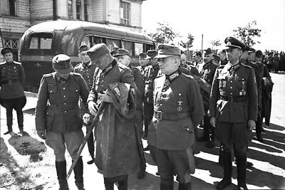 WWII photo German generals in front of the march of captured Germa World War/554