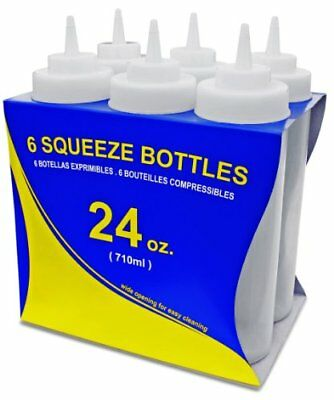 New Star Food Service Squeeze Bottles, Plastic, Wide Mouth, 24 oz, Clear,Pof 6