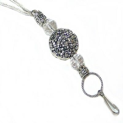Cord Chain Necklace Lanyard, key keeper, id badge holder Silver on Silver