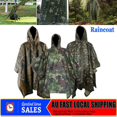 Camouflage Hooded Army Raincoat Waterproof Camp Emergency Shade Poncho Shelter