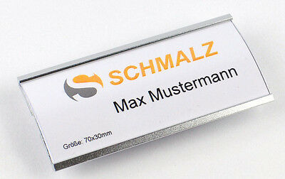 1 x Fashionable Name tag made of anodized Aluminium with Magnet