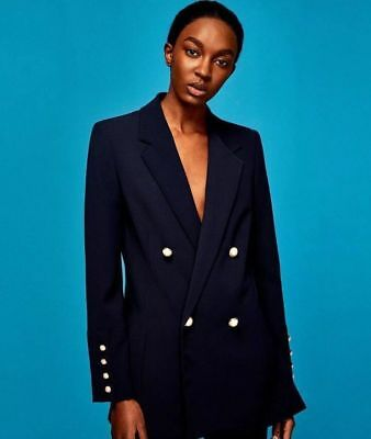 9f0debdbe20c6 Zara Woman Double Breasted Blazer With Pearl Buttons Navy Blue 2807 417  Size S