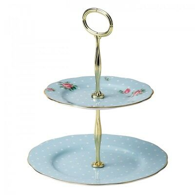 NEW Royal Albert Polka Blue Vintage 2 Tier Cake stand