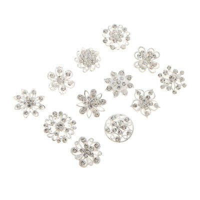 Lot 12pcs Clear Rhinestone Crystal Flower Brooches Pins Bouquet Broaches