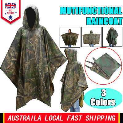 Waterproof Army Hooded Ripstop Festival Rain Poncho Military Camping Hiking  NEW