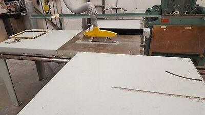 Sedgwick saw bench with extended table top and extractor