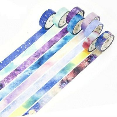 Decorative Sticky Tape Roll Masking Adhesive Planner Kawaii Night Sky Washi Deco
