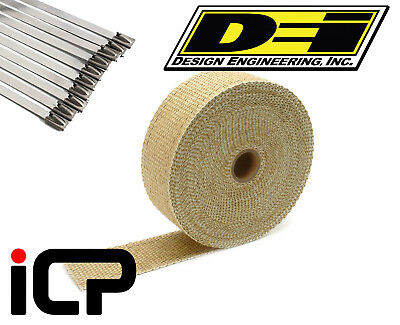 "DEI Tan Glass Fiber Heat Exhaust Wrap & Stainless Steel Tie Kit 2""x50FT Roll"