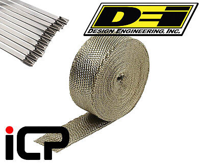"DEI Titanium Heat Exhaust Wrap & Stainless Steel Tie Kit 2""x50FT Roll"