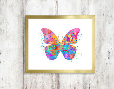 butterfly print a4 gloss Picture unframed watercolour