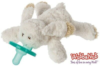 Oatmeal Bunny Wubbanub Infant Baby Soothie Binkie Holder Stuffed Animal Toy