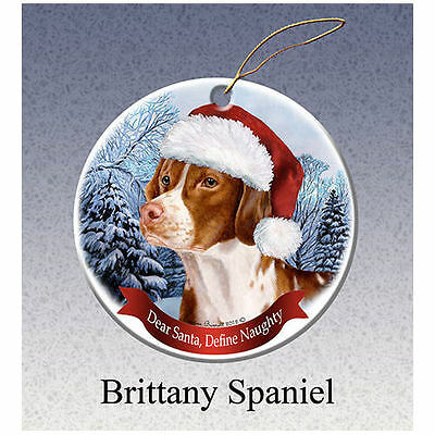 Brittany Howliday Porcelain China Dog Christmas Ornament