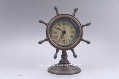 ollectible Old Chinese Brass Handwork Mechanical Table remontoir Clock