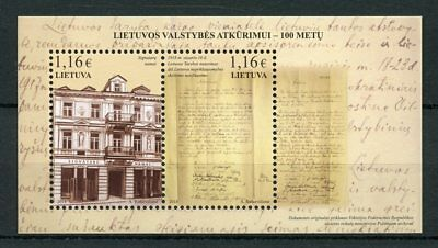 Lithuania 2018 MNH Restoration of Lithuanian State 100 Years 2v M/S Stamps