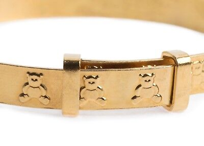Rolled GOLD Base Metal Baby Christening Bangle Teddy Bear Expandable Bracelet