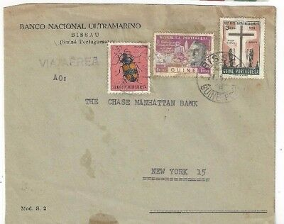 1957 Bissau Portuguese Guinea Africa, Commercial Airmail to New York