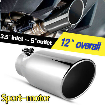 "3.5"" Inlet 5"" Outlet 12""inch Long Rolled Edge Angle Cut Exhaust Tip Tail Pipe SS"