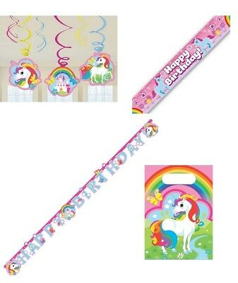 Unicorn Birthday Banner Hanging Swirl Banner Party Bag Decoration Partyware