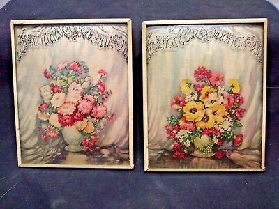 Pair of Vintage Silhouette Flower Convex Pictures