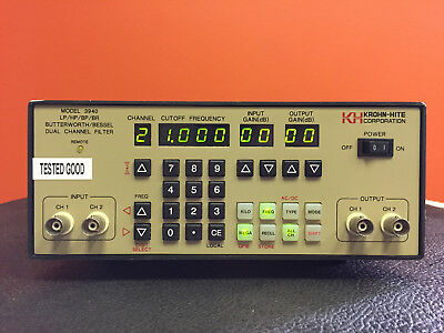 Krohn-Hite 3940 3 Hz to 2 MHz, 0 to 20 dB Gain Dual Channel Programmable Filter