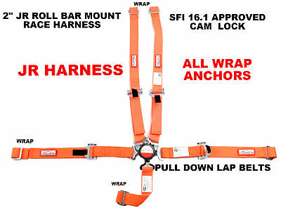 Quarter Midget Race Harness Sfi 16.1 All Wrap Cam Lock 5 Point Seat Belt Orange