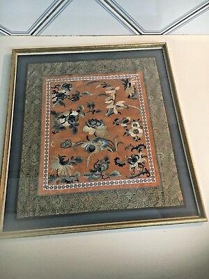Antique 19th century Chinese Asian hand embroidered silk textile dragons flowers