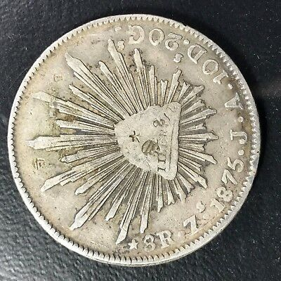 1875 Zs J.A. 8 REALE SILVER ~ 3 Small Chop Marks ~ Zacatecas Mexico