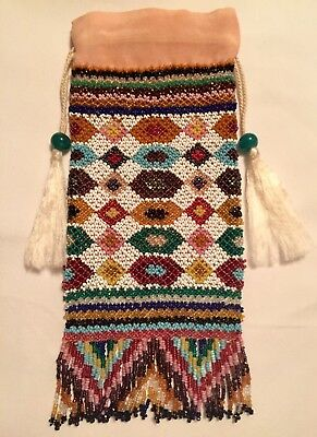 Antique Rare Peranakan Straits Chinese Venetian Net Beaded Silk Bag