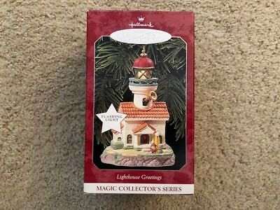 1998 Hallmark Ornament Lighthouse Greetings # 2 IN SERIES FLASHING LIGHT MIB