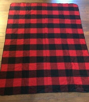 Marlboro Country Store Red Black Buffalo Check Wool Blanket 74x59 Vintage Throw