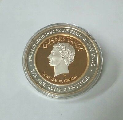 $200 Dollar Silver Gold Strike Caesars Tahoe Cleopatra No Number Rare 1 lb. .999