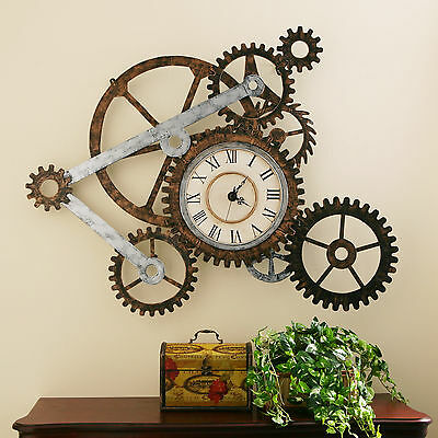 Rustic Wall Clock Industrial Gears Steampunk Shabby Chic Rugged Vintage Style
