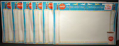 Lot of 6 Nice Vintage Coca-Cola Placemats with Five Advertising  Slogans