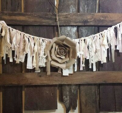 "#J21 60"" baby shower curtain burlap lace Garland decor nursery wedding farmhouse"