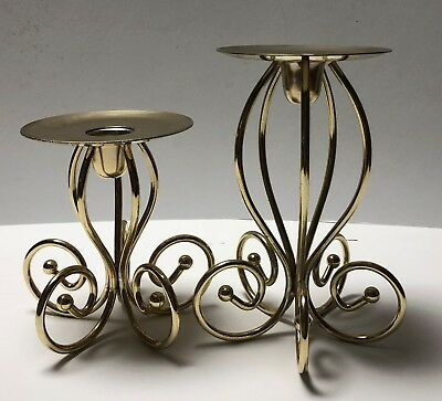Home Interiors Gold Metal Table Stand Candle Holders Set of 2