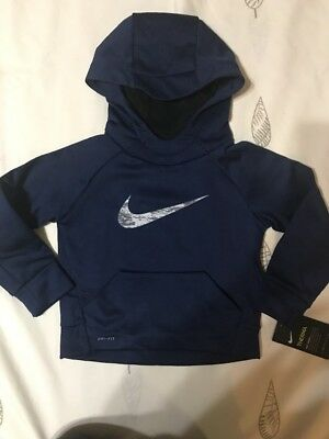 Nike Therma Toddler Boy Dri-Fit Binary Blue Pullover Hoodie Sz 2T NWT
