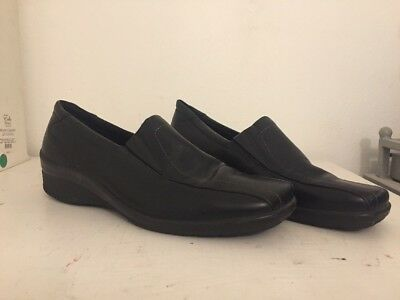 c1b3ff08a6b ECCO BLACK NUBUCK Leather Oxford Ghillie Tie Loafers Size 39 (Us ...