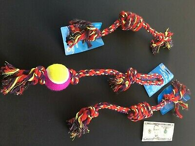 EXTRA LONG Rope Dog Toys Tough Pull Dog Toy Lot Chew for Aggressive Chewers