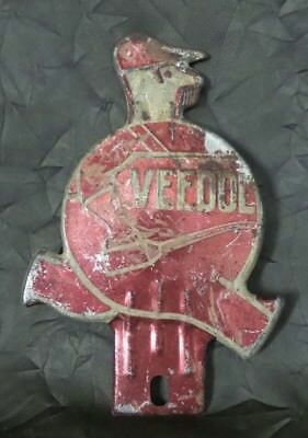Awesome Rare 1930s VEEDOL OIL Pressed Steel Sign / License Plate Topper