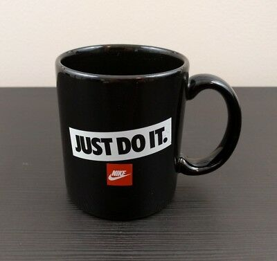 Nike Just Do It Coffee Mug Cup - 1990s 90s Vintage - Swoosh - Black White Red