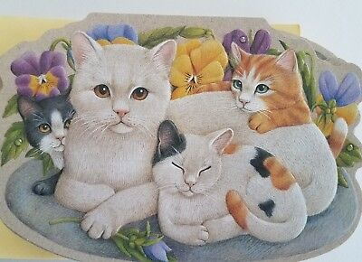 1991 CURRENT Captivating CATS KITTENS Die-Cut Embossed Stationery Note Cards Set